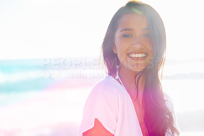 Buy stock photo Pretty woman standing outside and smiling at the camera