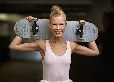Buy stock photo A young ballerina holding a skateboard behind her neck