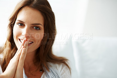 Buy stock photo Charming young woman with joined hands