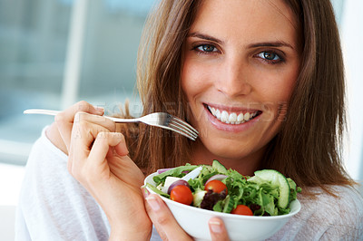 Buy stock photo Beautiful woman about to enjoy a light salad for lunch - copyspace