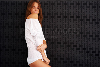 Buy stock photo Portrait stunning young female model posing