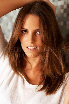 Buy stock photo Confident young female model posing