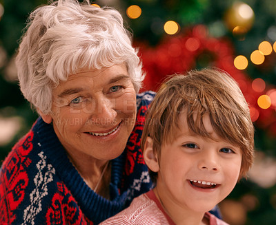 Buy stock photo Portrait of a grandmother and her grandson at Christmas