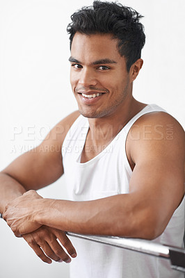 Buy stock photo Studio portrait of an athletic young man
