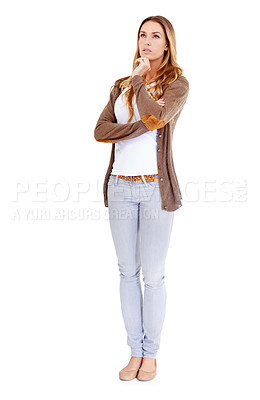 Buy stock photo A young woman in casual wear looking thoughtful - isolated