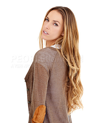 Buy stock photo Portrait of an attractive young woman posing in the studio