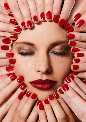 Buy stock photo A young woman with multiple sets of hands on her face