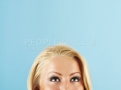 Buy stock photo Blonde Woman Looking Up