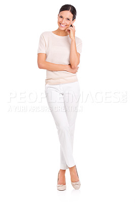 Buy stock photo Studio portrait of a casually dressed young woman isolated on white