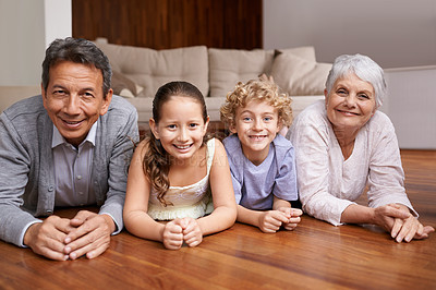 Buy stock photo Portrait of two siblings and their grandparents