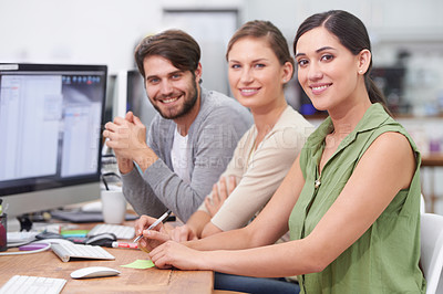 Buy stock photo Shot of a group of young businesspeople smiling at the camera