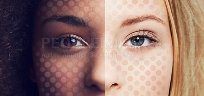 Buy stock photo Conceptual portrait of the combined face of an african american woman and a caucasian woman