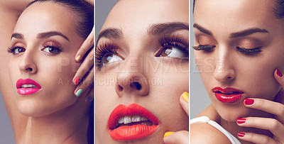 Buy stock photo Studio shot of an attractive young woman wearing colorful makeup