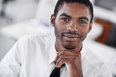 Buy stock photo Cropped portrait of a confident young businessman