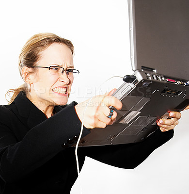Buy stock photo Computer error and a VERY angry women