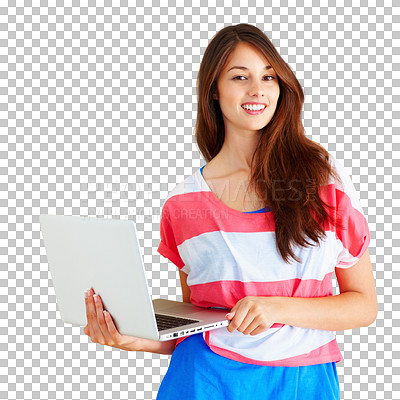 Buy stock photo Studio shot of a young woman holding a laptop