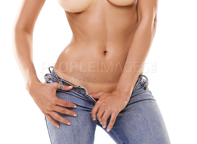 Buy stock photo Sensuous female posing in unbuttoned jeans