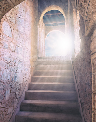 Buy stock photo Shot of a stairway and door leading to Heaven