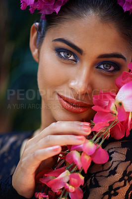 Buy stock photo A portrait of a beautiful woman wearing colorful