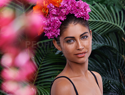 Buy stock photo A portrait of a beautiful woman wearing a colorful headdress and standing in a jungle