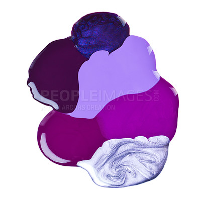 Buy stock photo A studio of of a puddle of nail polish in various color against a white back drop