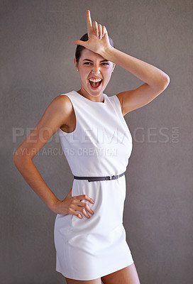 Buy stock photo Studio shot of a young expressive girl