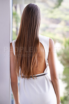 Buy stock photo Rearview shot of a gorgeous young brunette