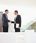 Satisfied business man shaking hands after a deal