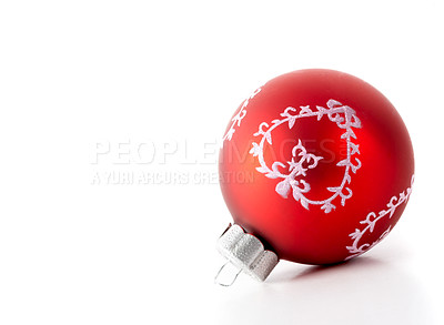 Buy stock photo Cropped studio shot of a Christmas bauble
