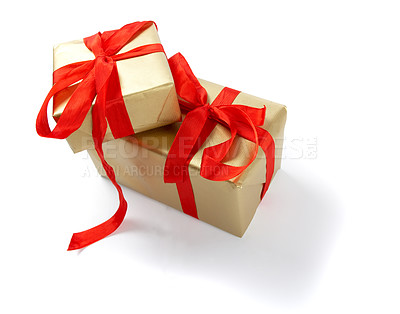 Buy stock photo Two wrapped christmas presents, isolated on white - copyspace