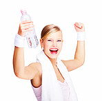 Closeup portrait of smiling young female with arms raised and water bottle in hand