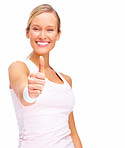 Success - Happy blond woman giving thumbs up