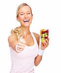 Success - Healthy young woman showing thumbs up