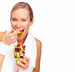 Healthy Life - Health conscious blond eating fruit