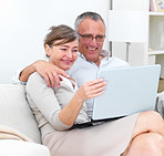 Portrait of an older couple using laptop