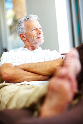 Buy stock photo Mature man lost in deep thought