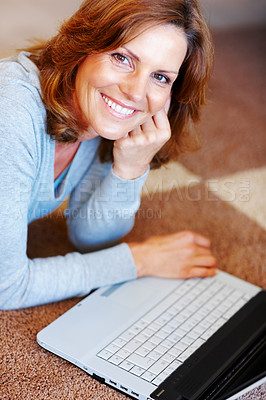 Buy stock photo Beautiful young woman using laptop - Indoor