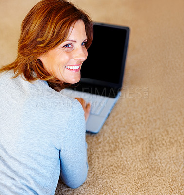 Buy stock photo Pretty young female using laptop - Indoor