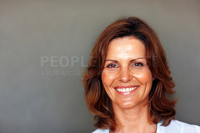 Buy stock photo Closeup portrait of beautiful young woman smiling
