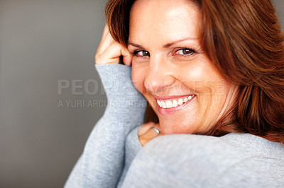 Buy stock photo Portrait of happy young woman posing - Copyspace