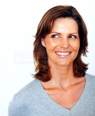 Buy stock photo Pretty young woman looking at copyspace