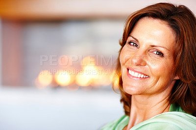 Buy stock photo Portrait of beautiful young woman - Indoor