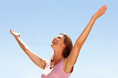 Buy stock photo Happy young woman enjoying her freedom
