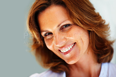 Buy stock photo Portrait of beautiful young woman smiling - Copysp