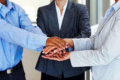 Buy stock photo Symbol of teamwork - Group of businesspeople hand