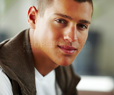 Buy stock photo Portrait of handsome young guy smiling - Indoor