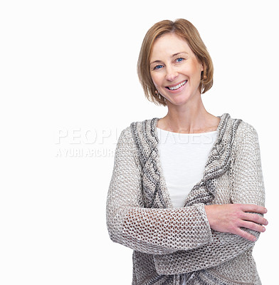 Buy stock photo Attractive mature woman smiling with lots of copys