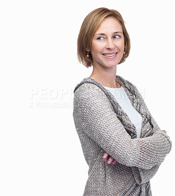 Buy stock photo Beautiful mature woman looking at something intere