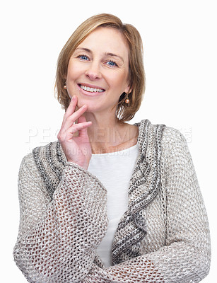 Buy stock photo Pretty happy mature lady with hand on chin isolate