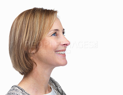 Buy stock photo Profile of attractive mature lady looking at copys